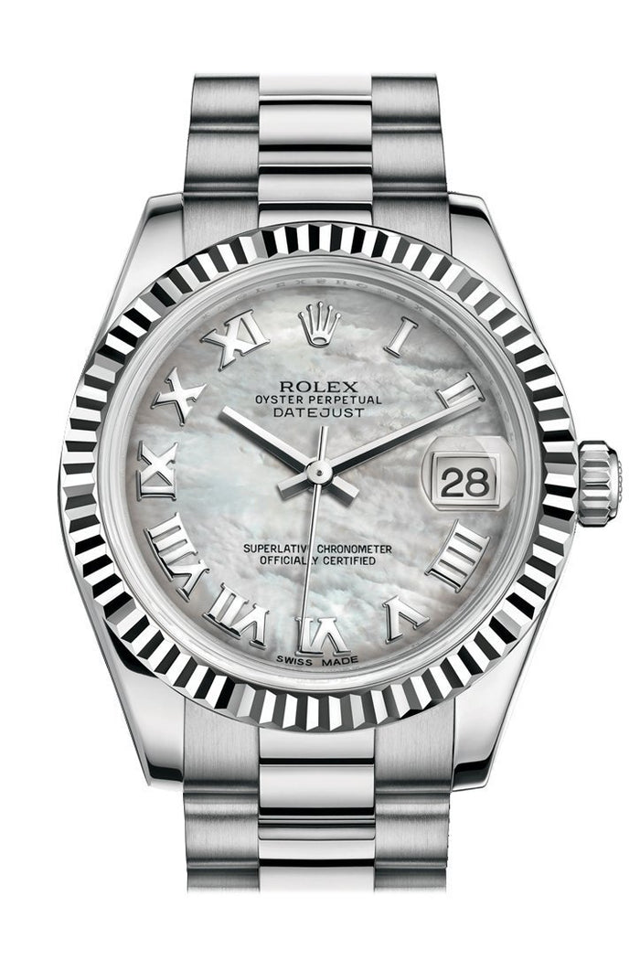 Rolex Datejust 31 White mother-of-pearl Roman Dial Fluted Bezel 18K White Gold President Ladies Watch 178279