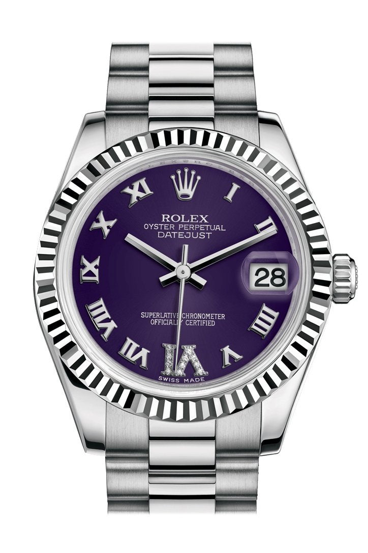 Rolex Datejust 31 Purple Set With Diamonds Dial Fluted Bezel 18K White Gold President Ladies Watch