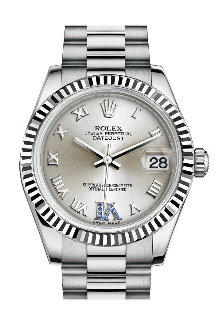 Rolex Datejust 31 Silver Large VI set with sapphires Dial Fluted Bezel 18K White Gold President Ladies Watch 178279