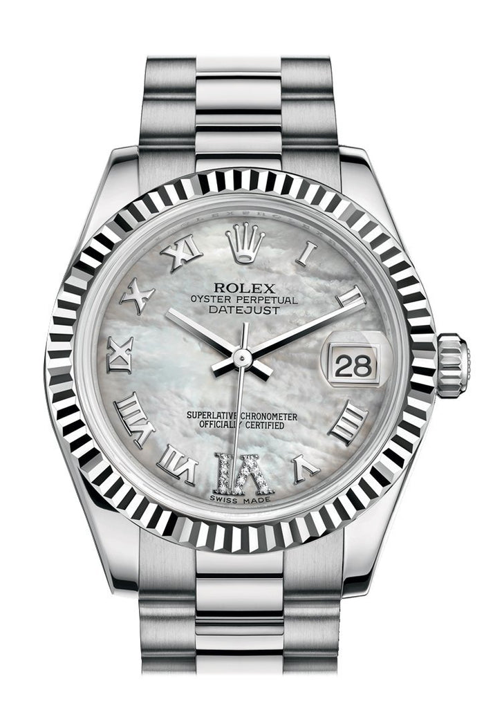 Rolex Datejust 31 White mother-of-pearl Large VI Diamond Dial Fluted Bezel 18K White Gold President Ladies Watch 178279