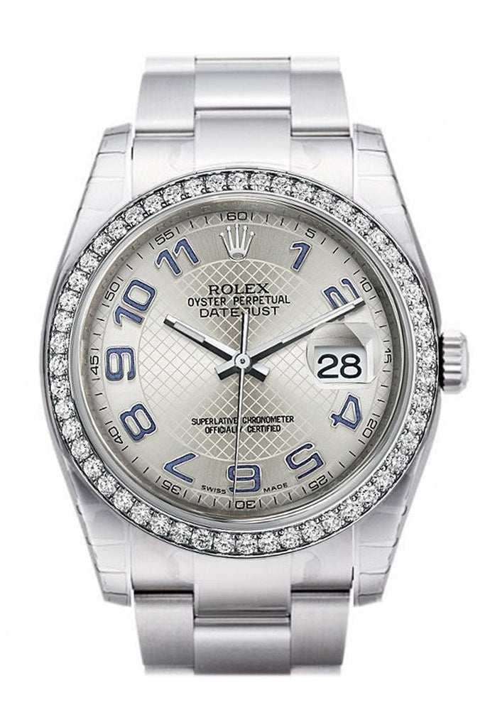 Rolex Datejust 36 Silver Arab Dial 18K White Gold Diamond Bezel Mens Watch 116244 / None