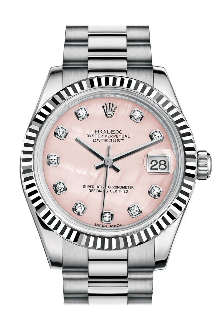 Rolex Datejust 31 Pink mother-of-pearl Diamond Dial Fluted Bezel 18K White Gold President Ladies Watch 178279