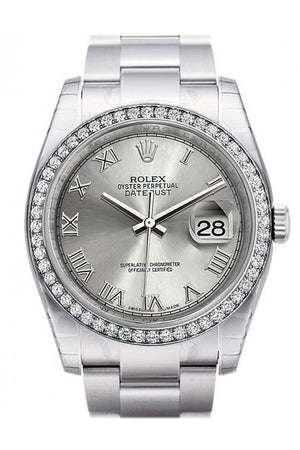 Rolex Datejust 36 Rhodium Roman Dial 18K White Gold Diamond Bezel Mens Watch 116244 / None