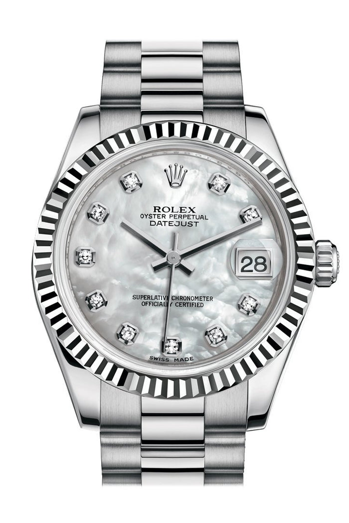 Rolex Datejust 31 White mother-of-pearl Diamond Dial Fluted Bezel 18K White Gold President Ladies Watch 178279