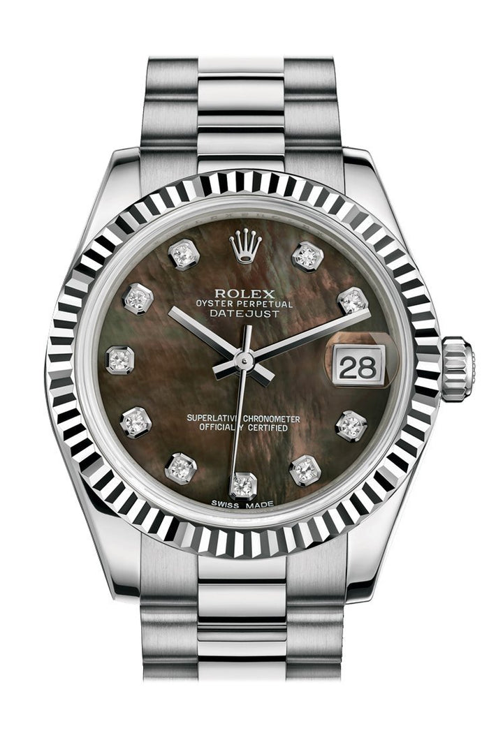 Rolex Datejust 31 Black mother-of-pearl Diamond Dial Fluted Bezel 18K White Gold President Ladies Watch 178279