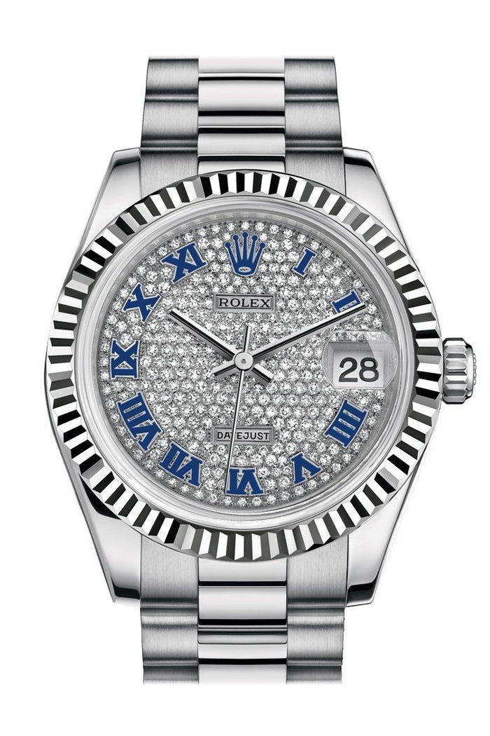 Rolex Datejust 31 Diamond-paved Roman Dial Fluted Bezel 18K White Gold President Ladies Watch 178279