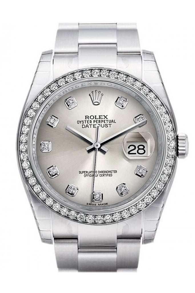 Rolex Datejust 36 Silver Set With Diamonds Dial 18K White Gold Diamond Bezelmens Watch 116244 / None