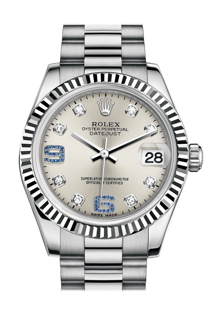 Rolex Datejust 31 Silver set with diamonds and sapphires Dial Fluted Bezel 18K White Gold President Ladies Watch 178279