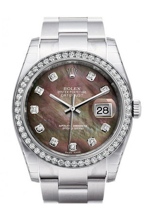 Rolex Datejust 36 Black Mother-Of-Pearl Set With Diamonds Dial 18K White Gold Diamond Bezel Mens