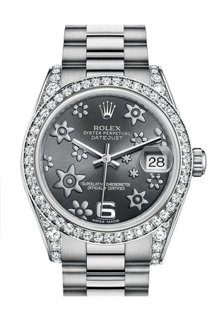 Rolex Datejust 31 Dark Rhodium Raised Floral Motif Dial Diamond Bezel Lug 18K White Gold President