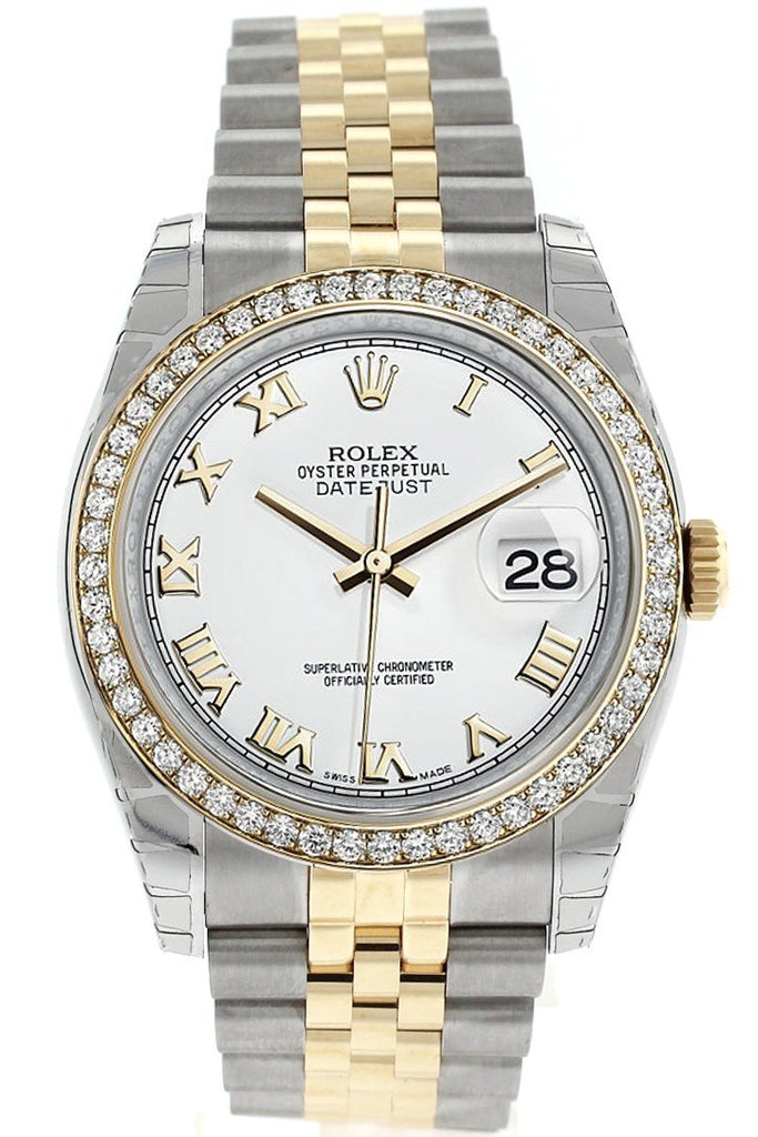 Rolex Datejust 36 White Roman Dial 18K Gold Diamond Bezel Jubilee Ladies Watch 116243