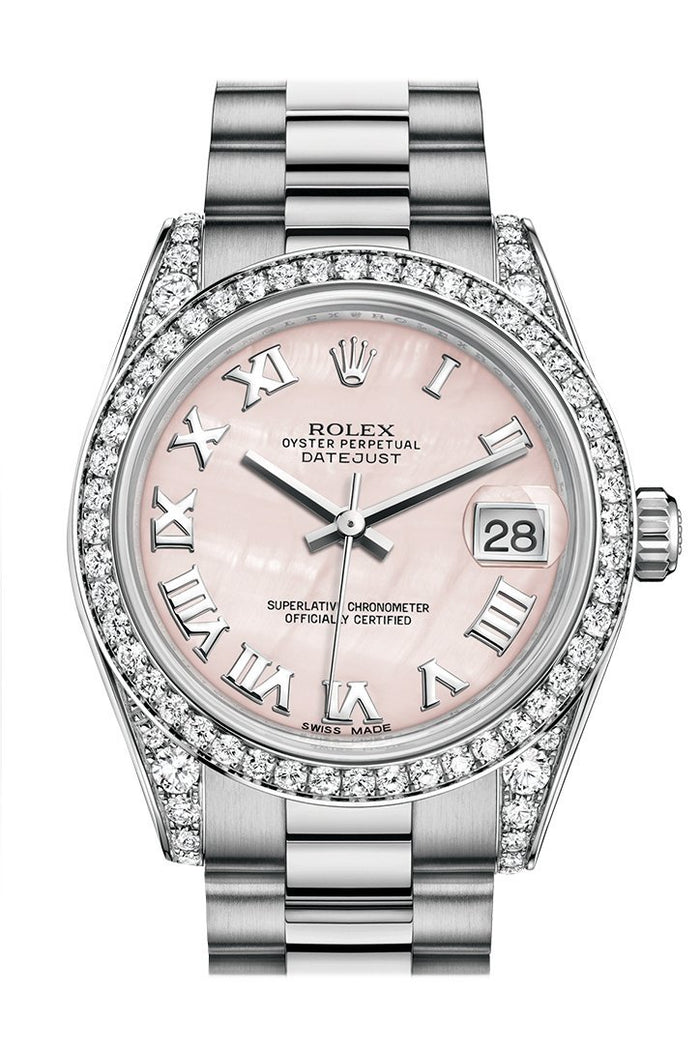 Rolex Datejust 31 Pink mother-of-pearl RomanDial Diamond Bezel Lug 18K White Gold President Ladies Watch 178159