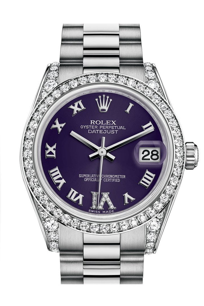 Rolex Datejust 31 Purple set with diamonds Dial Diamond Bezel Lug 18K White Gold President Ladies Watch 178159