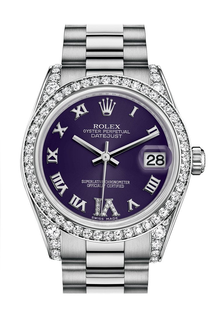 Rolex Datejust 31 Purple Set With Diamonds Dial Diamond Bezel Lug 18K White Gold President Ladies