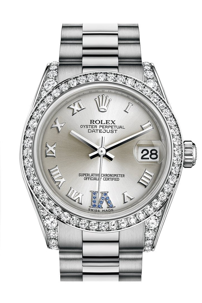 Rolex Datejust 31 Silver Large VI set with sapphires Dial Diamond Bezel Lug 18K White Gold President Ladies Watch 178159