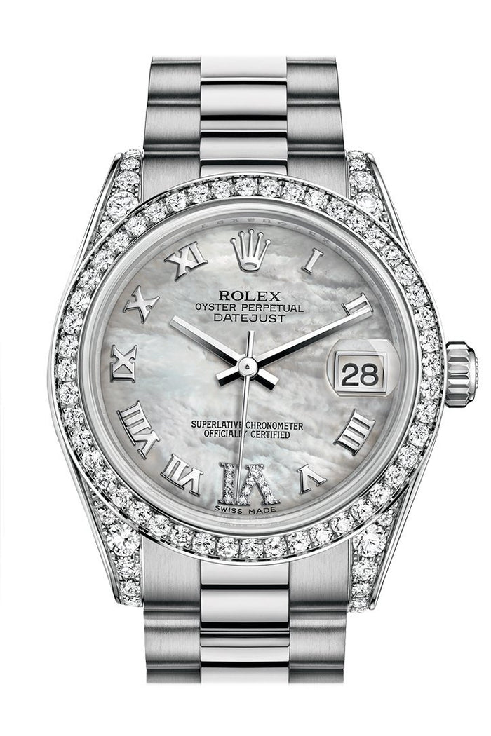Rolex Datejust 31 White mother-of-pearl Large VI Dial Diamond Bezel Lug 18K White Gold President Ladies Watch 178159