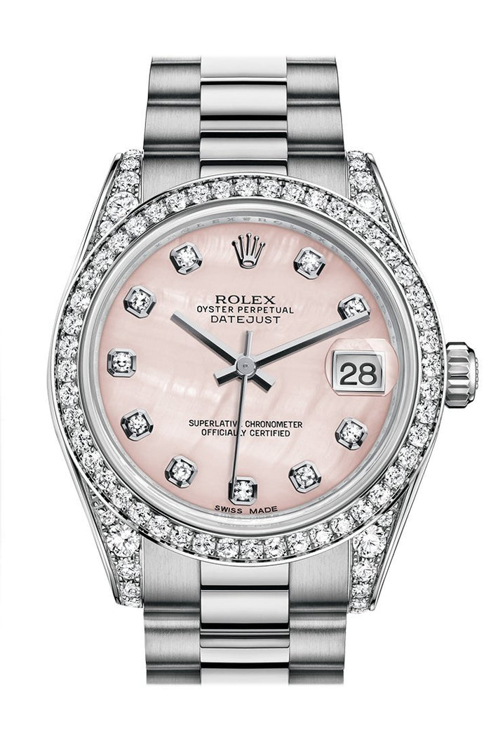 Rolex Datejust 31 Pink mother-of-pearl Diamond Dial Diamond Bezel Lug 18K White Gold President Ladies Watch 178159