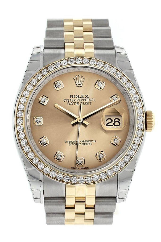 Rolex Datejust 36 Champagne Set With Diamonds Dial 18K White Gold Diamond Bezel Jubilee Ladies Watch