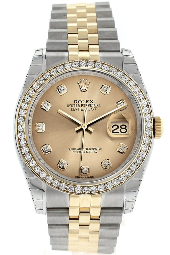 Rolex Datejust 36 Champagne set with diamonds Dial 18k White Gold Diamond Bezel Jubilee Ladies Watch 116243