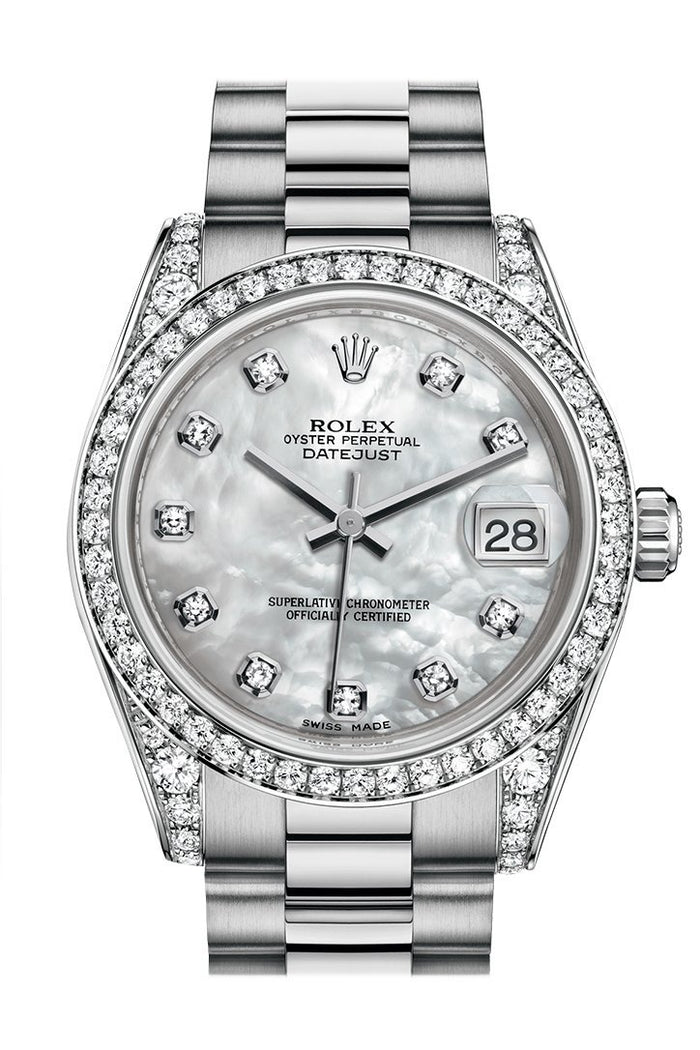 Rolex Datejust 31 White mother-of-pearl Diamond Dial Diamond Bezel Lug 18K White Gold President Ladies Watch 178159