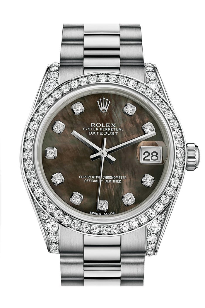 Rolex Datejust 31 Black mother-of-pearl Diamond Dial Diamond Bezel Lug 18K White Gold President Ladies Watch 178159