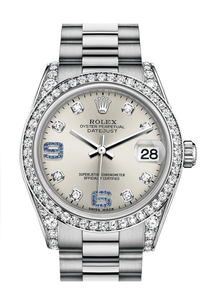 Rolex Datejust 31 Silver set with diamonds and sapphires Dial Diamond Bezel Lug 18K White Gold President Ladies Watch 178159