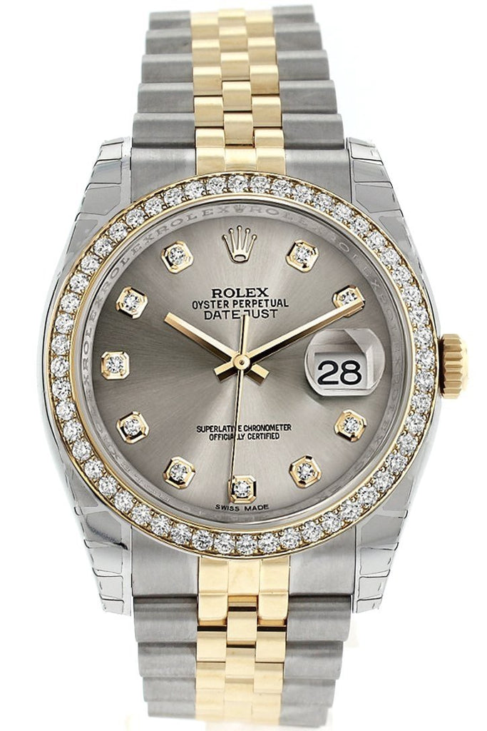 Rolex Datejust 36 Steel set with diamonds Dial 18k White Gold Diamond Bezel Jubilee Ladies Watch 116243