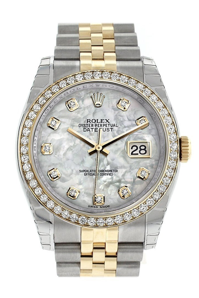 Rolex Datejust 36 White Mother-Of-Pearl Set With Diamonds Dial 18K Gold Diamond Bezel Jubilee Ladies