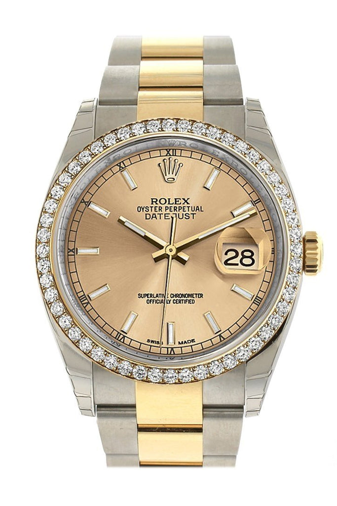 Rolex Datejust 36 Champagne Dial 18K Gold Diamond Bezel Ladies Watch 116243