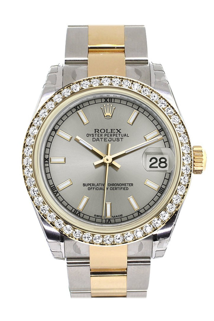 Rolex Datejust 31 Silver Dial Diamond Bezel Yellow Gold Two Tone Watch 178383
