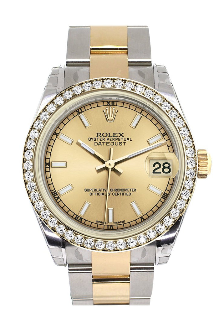 Rolex Datejust 31 Champagne Dial Diamond Bezel Yellow Gold Two Tone Watch 178383
