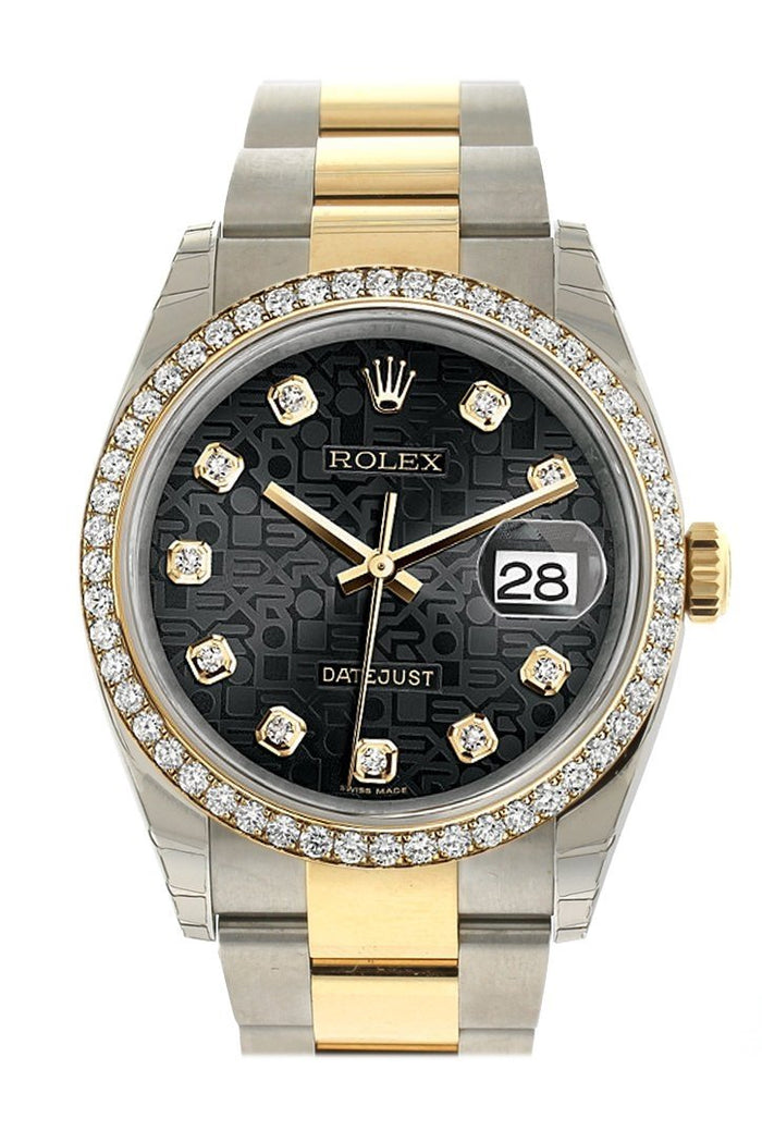 Rolex Datejust 36 Black Jubilee design set with diamonds Dial 18k White Gold Diamond Bezel Ladies Watch 116243