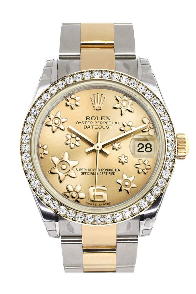 Rolex Datejust 31 Champagne Raised Floral Motif Dial Diamond Bezel Yellow Gold Two Tone Watch 178383