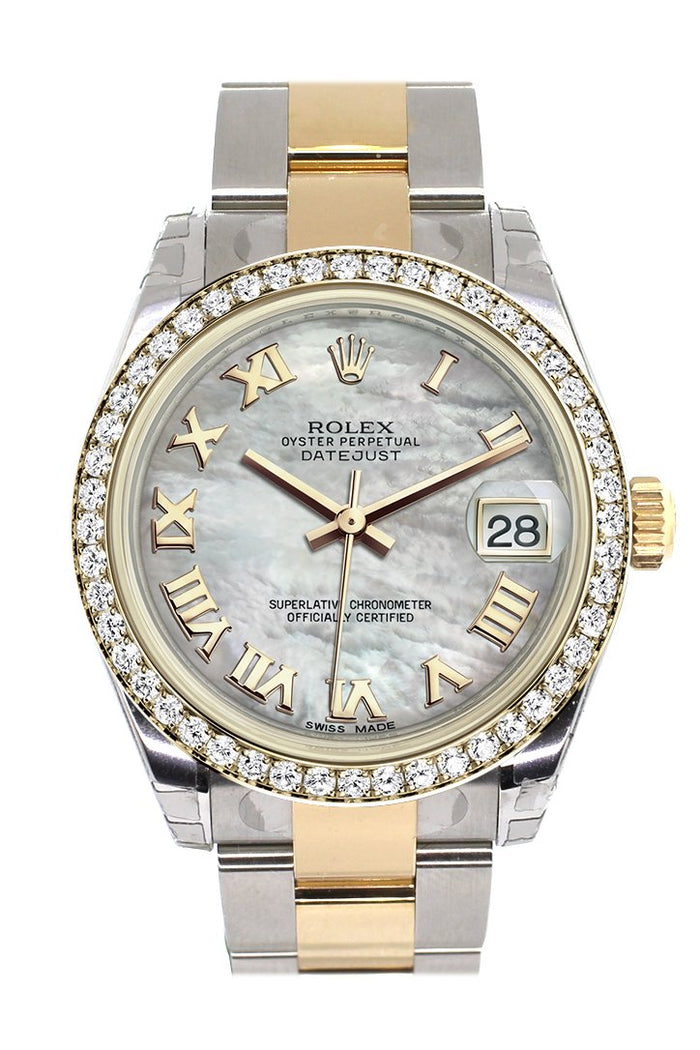 Rolex Datejust 31 White mother-of-pearl Roman Dial Diamond Bezel Yellow Gold Two Tone Watch 178383