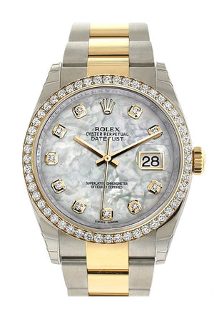 Rolex Datejust 36 White Mother-Of-Pearl Set With Diamonds Dial 18K Gold Diamond Bezel Ladies Watch