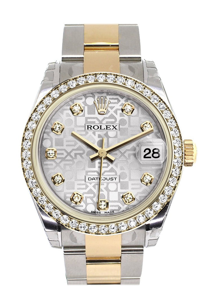 Rolex Datejust 31 Silver Jubilee design Diamond Dial Diamond Bezel Yellow Gold Two Tone Watch 178383
