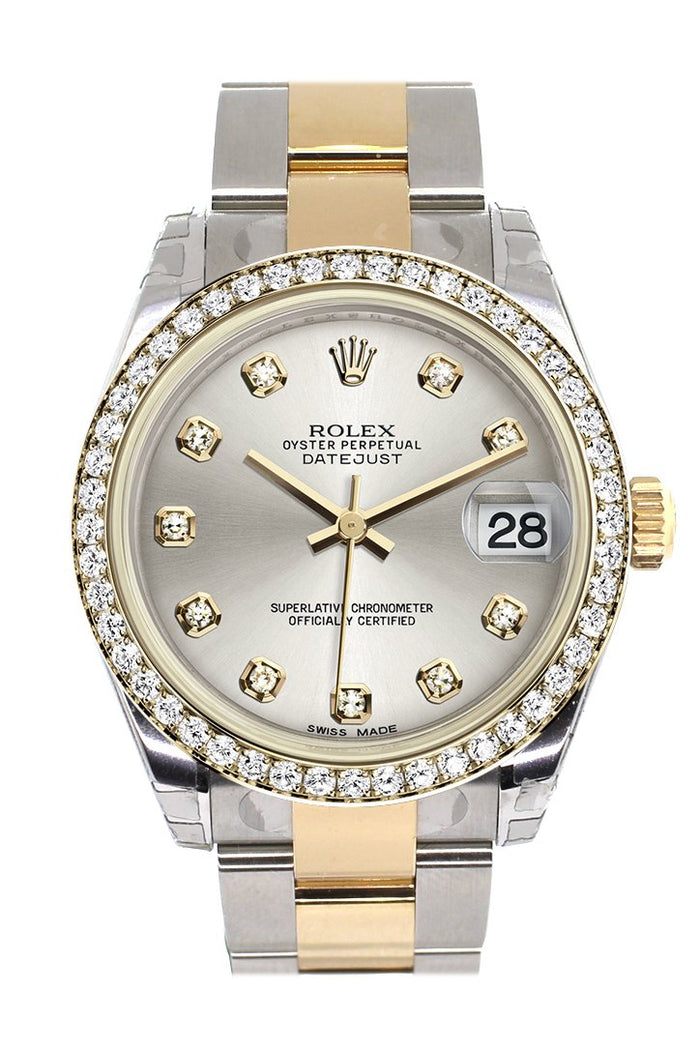 Rolex Datejust 31 Silver Diamond Dial Diamond Bezel Yellow Gold Two Tone Watch 178383