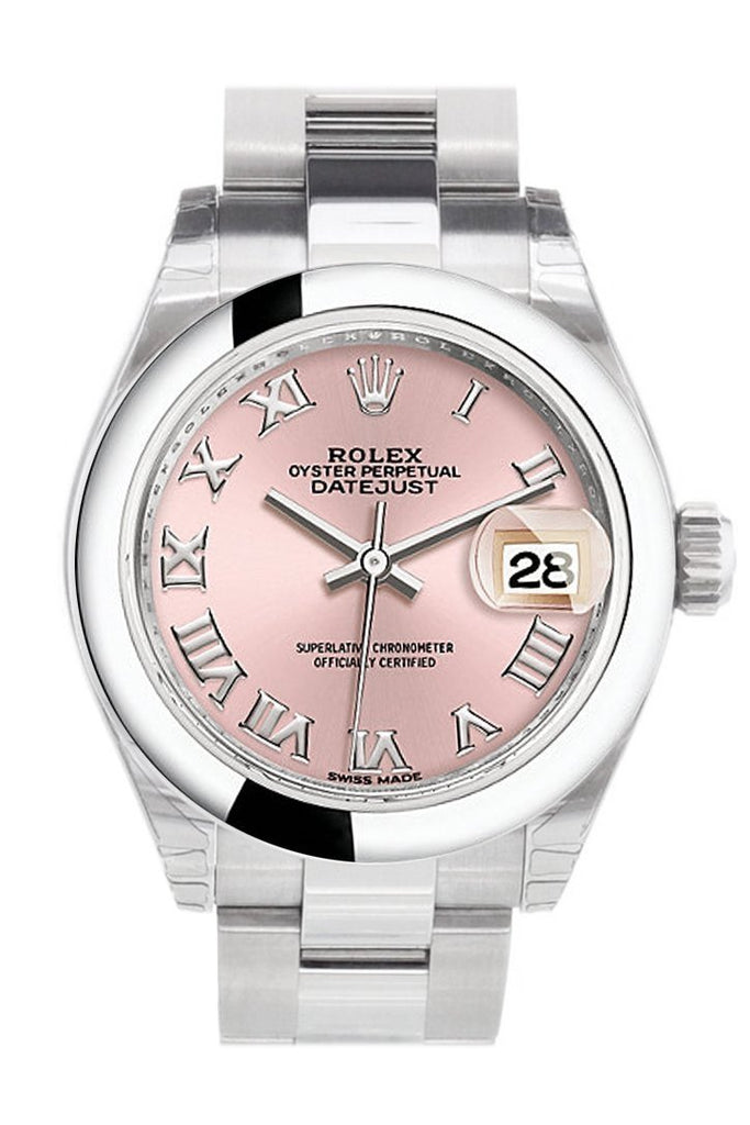 Rolex Datejust 28 Pink Roman Dial Stainless Steel Ladies Watch 279160