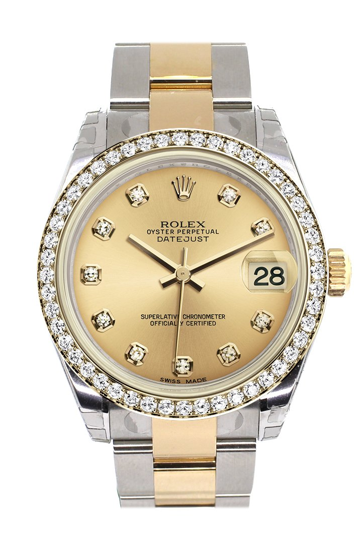 Rolex Datejust 31 Champagne Diamond Dial Bezel Yellow Gold Two Tone Watch 178383