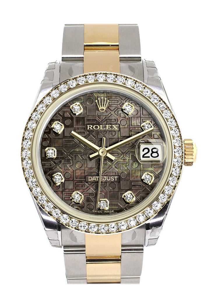 Rolex Datejust 31 Black mother-of-pearl Jubilee design Diamond Dial Diamond Bezel Yellow Gold Two Tone Watch 178383