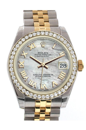Rolex Datejust 31 White Mother-Of-Pearl Roman Dial Diamond Bezel Jubilee Yellow Gold Two Tone Watch