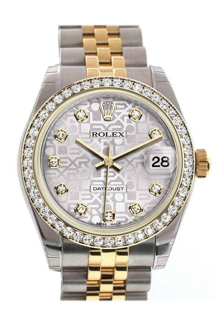 Rolex Datejust 31 Silver Jubilee design with Diamond Dial Diamond Bezel Jubilee Yellow Gold Two Tone Watch 178383