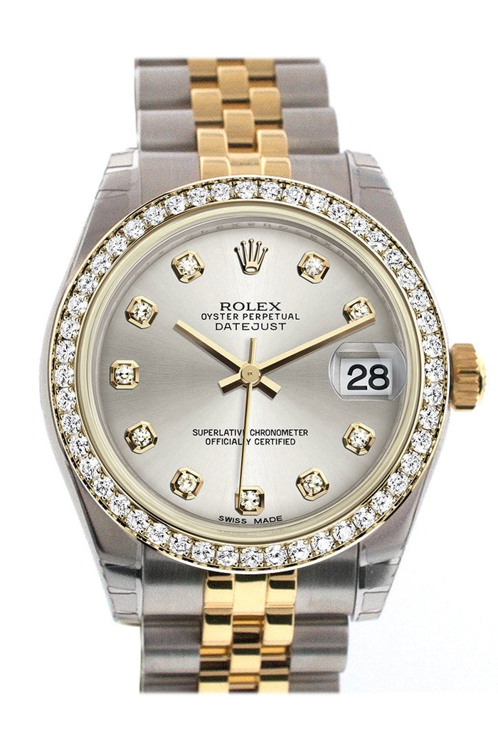 Rolex Datejust 31 Silver Diamond Dial Diamond Bezel Jubilee Yellow Gold Two Tone Watch 178383