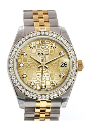 Rolex Datejust 31 Champagne Jubilee Design Diamond Dial Bezel Yellow Gold Two Tone Watch 178383