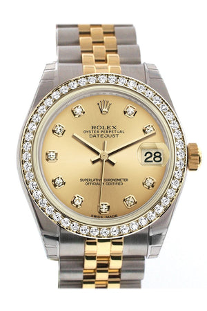 Rolex Datejust 31 Champagne Diamond Dial Bezel Jubilee Yellow Gold Two Tone Watch 178383