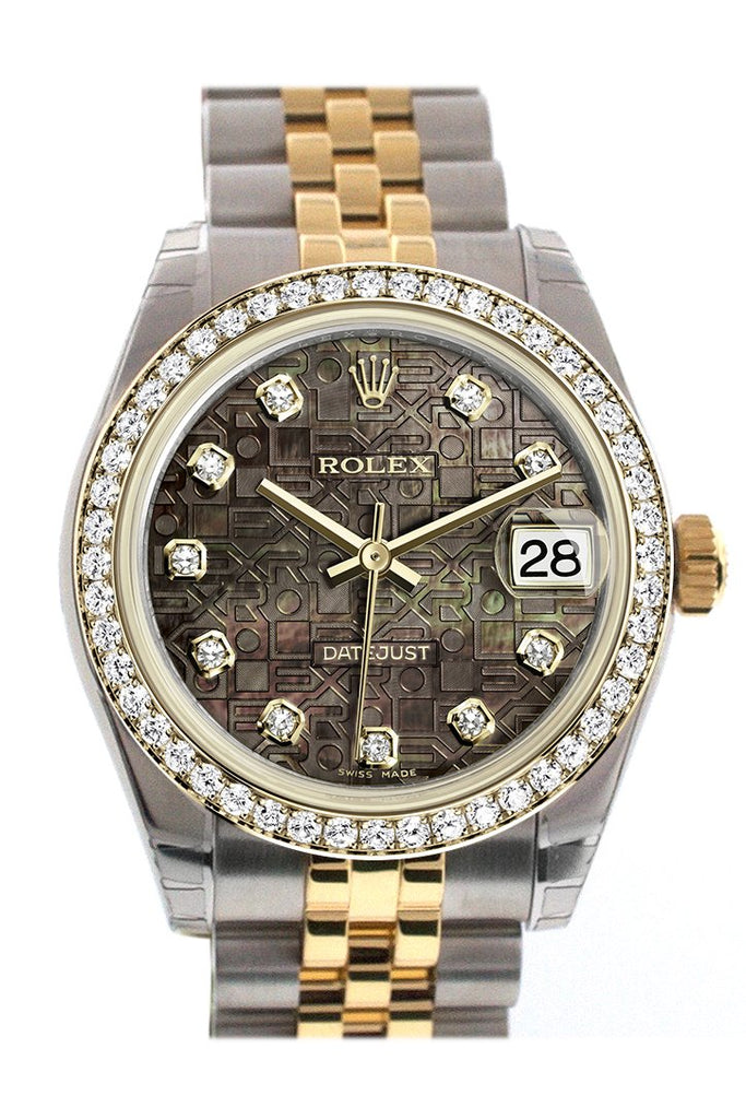 Rolex Datejust 31 Black Mother-Of-Pearl Jubilee Diamond Dial Bezel Yellow Gold Two Tone Watch 178383
