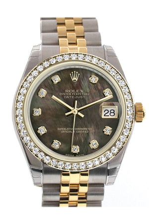 Rolex Datejust 31 Black Mother-Of-Pearl Diamond Dial Bezel Jubilee Yellow Gold Two Tone Watch 178383