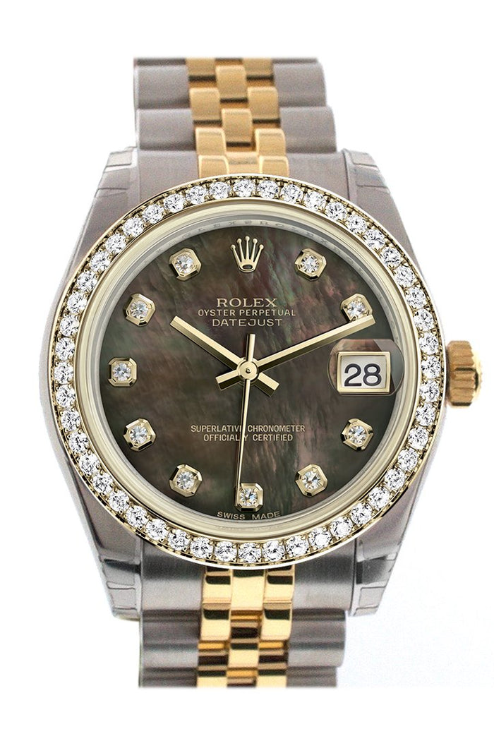 Rolex Datejust 31 Black mother-of-pearl Diamond Dial Diamond Bezel Jubilee Yellow Gold Two Tone Watch 178383