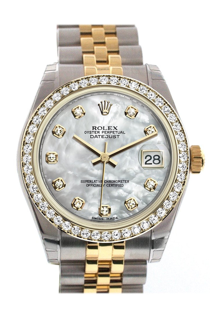 Rolex Datejust 31 White mother-of-pearl Diamond Dial Diamond Bezel Jubilee Yellow Gold Two Tone Watch 178383