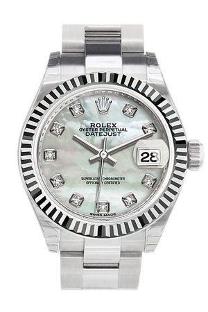 Rolex Datejust 28 Pearl Set With Diamonds Dial Fluted Bezel Steel Ladies Watch 279174